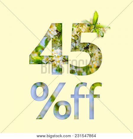 45% Off Discount. The Concept Of Spring Sale, Stylish Poster, Banner, Promotion, Ads.