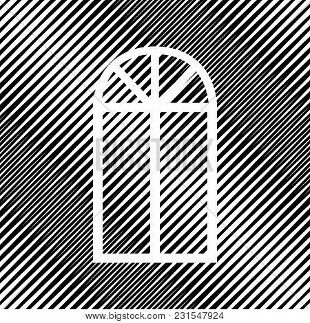 Window Simple Sign. Vector. Icon. Hole In Moire Background.