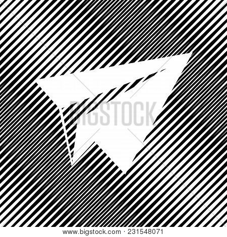Paper Airplane Sign. Vector. Icon. Hole In Moire Background.