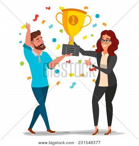 Business Woman And Man Achievement Concept Vector. Best Workers Celebrating Success. Attainment, Com