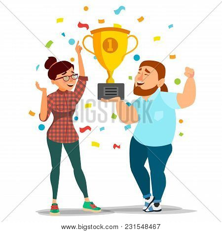 Business Man, Woman Achievement Concept Vector. Best Workers Celebrating Success. Attainment. Manage