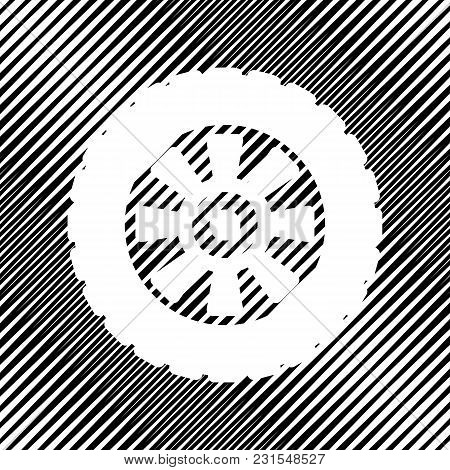 Road Tire Sign. Vector. Icon. Hole In Moire Background.