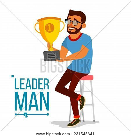 Attainment Achievement Concept Vector. Businessman Leader Holding Winner Cup. Entrepreneurship, Acco