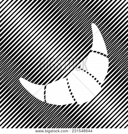 Croissant Simple Sign. Vector. Icon. Hole In Moire Background.