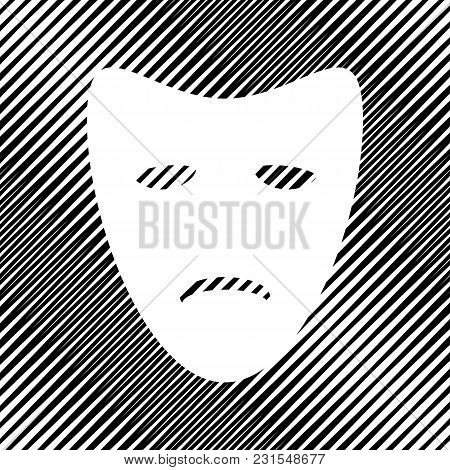 Tragedy Theatrical Masks. Vector. Icon. Hole In Moire Background.