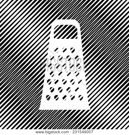 Cheese Grater Sign. Vector. Icon. Hole In Moire Background.
