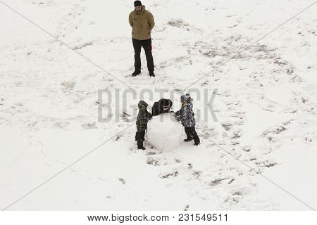 St. Petersburg, Russia - 2 February, Children Are At A Large Lump Of Snow, 2 February, 2018. Childre