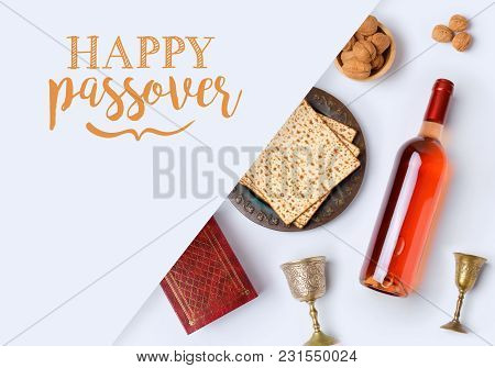 Jewish Holiday Passover Banner Design With Wine, Matzo And Seder Plate On White Background. View Fro