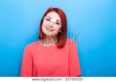 Nerd Redhead Woman Wearing Science Glasses On Blue Background