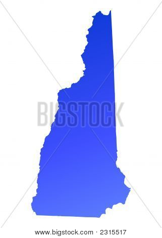 Blue Gradient New Hampshire Map, Usa
