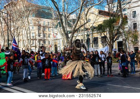 Lisbon , Portugal - February 10: African Dancer In Costume At A Procession On The Av. Da Liberdade I