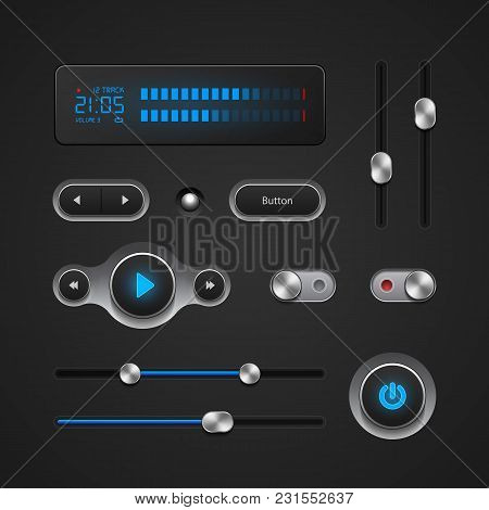 Hi-end User Interface Elements: Buttons, Switchers, On, Off, Player, Audio, Video: Play, Stop, Next,