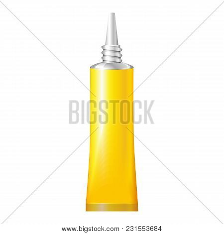 Yellow Tube Of Super Glue. Products On White Background Isolated. Ready For Your Design. Product Pac