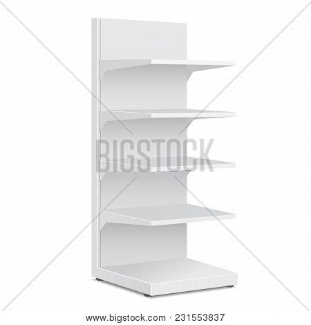 White Blank Empty Showcase Displays With Retail Shelves Products On White Background Isolated. Ready