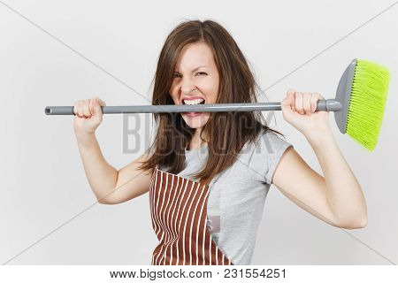 Young Fun Crazy Dizzy Loony Wild Aggressive Housewife With Brown Tousled Hair In Striped Apron Isola