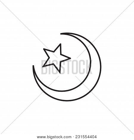 Star And Crescent Linear Icon In A Flat Design In Black Color. Vector Illustration Eps10.