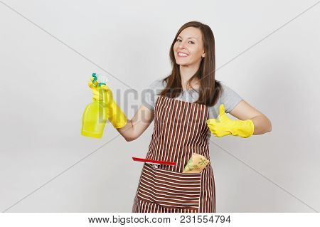 Young Smiling Housewife In Yellow Gloves, Striped Apron, Cleaning Rag, Squeegee In Pocket Isolated O