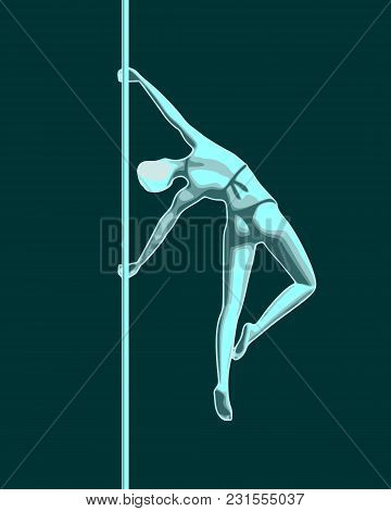 Silhouette Of Girl And Pole. Pole Dance Illustration.