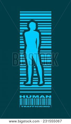 Bar Code Woman Silhouette. Human Trafficking Text