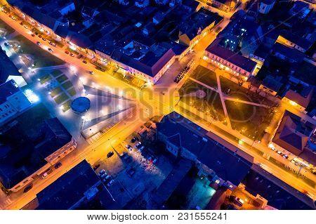 Town Of Krizevci Main Square Aerial Night View, Prigorje Region Of Croatia