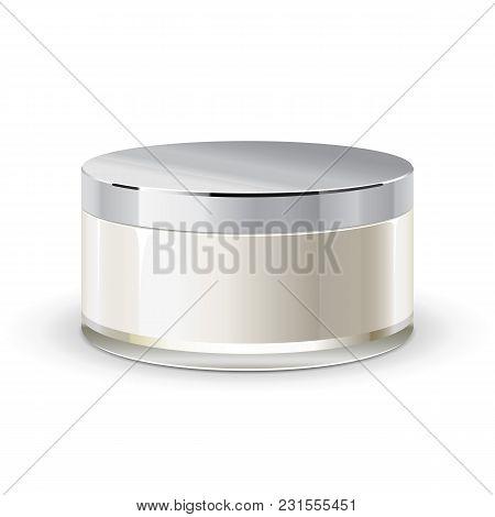 Cream, Gel Or Powder, Light Gray, White, Brown, Glass Jar Can Cap Bottle. Blank On White Background