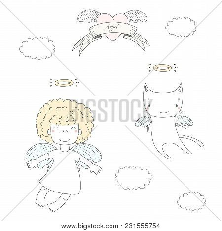 hand drawn vector vector photo free trial bigstock A Cat and Dogs 2 hand drawn vector illustration of a cute little angel girl with puffy hair and angel cat