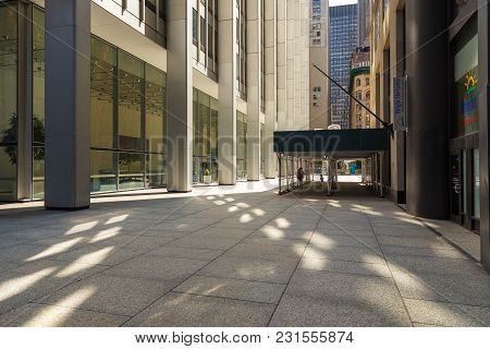 Wall Street Passage In Nyc Manhattan Lower Financial District Downtown.