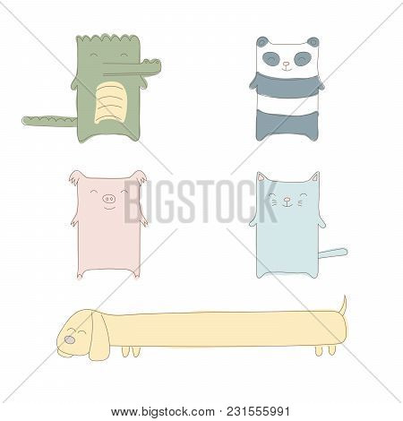 Collection Of Hand Drawn Simple Vector Doodles Of Cute And Funny Cartoon Animals - Panda, Cat, Croco