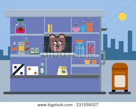 Cartoon Brown Bear Trade Kiosk, Cartoon Brown Bear Working In Trading Kiosk Flat Illustration , Cart