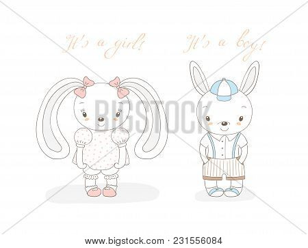 Hand Drawn Vector Illustration Of A Little Smiling Bunny Boy In Shorts And Girl With Bows, Text It'