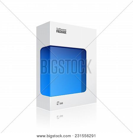 White Modern Software Product Package Box With Blue Window For Dvd Or Cd Disk Eps10