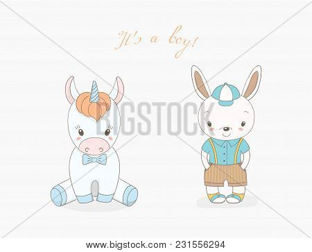 Hand Drawn Vector Illustration Of Cute Animal Baby Boys: Smiling Rabbit In A Baseball Cap And Unicor