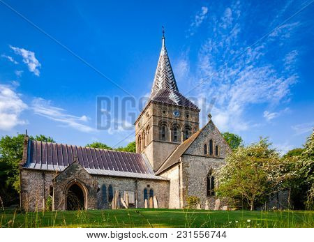 Anglican parish church of All Saints in East Meon, village and civil parish in Hampshire, South East England, UK