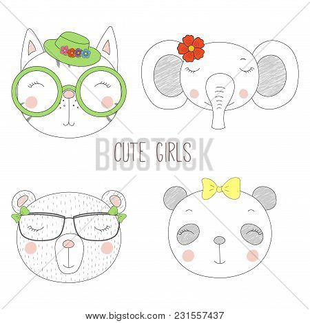 Set Of Hand Drawn Cute Funny Portraits Of Cat, Bear, Panda, Elephant Girls With Flowers And Hats. Is