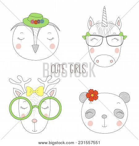 Set Of Hand Drawn Cute Funny Portraits Of Panda, Reindeer, Unicorn, Owl Girls With Flowers And Hats.