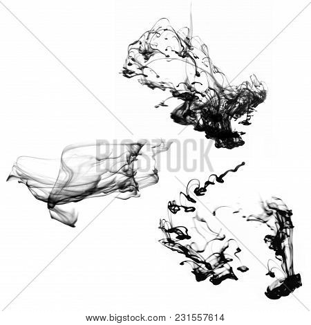 Shapeless Black Smoke Jets For Design On A White Background.