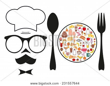 The Chef And Food. Grocery. Set Of Icons. Vector Illustration