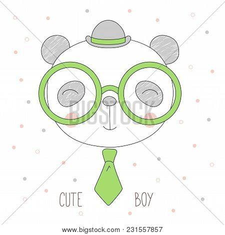 Hand Drawn Vector Portrait Of A Funny Cat Boy In A Bowler Hat, Neck Tie And Glasses, With Text Cute