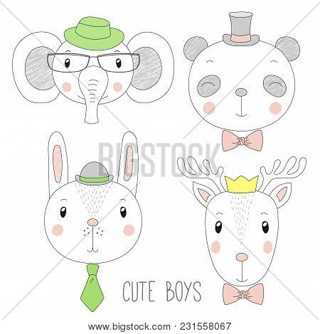 Set Of Hand Drawn Cute Funny Portraits Of Panda, Bunny, Reindeer, Elephant Boys With Ties, Glasses A