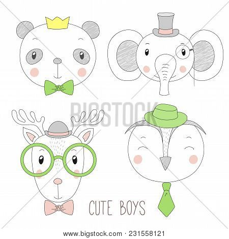 Set Of Hand Drawn Cute Funny Portraits Of Panda, Reindeer, Owl, Elephant Boys With Ties, Glasses And