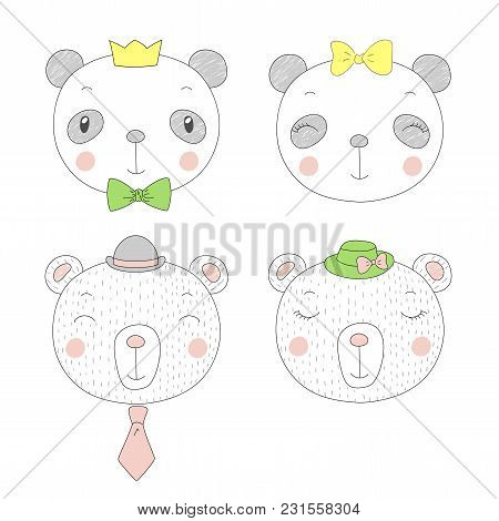 Hand Drawn Vector Portraits Of A Funny Pandas And Bears Girls And Boys In Hats. Isolated Objects On