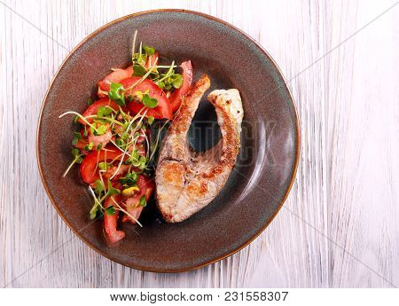 Common Carp Steak, Fried And Salad Aside