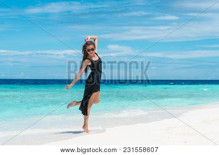 Happy Woman On Maldives. White Sand Beach With Blue Water