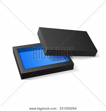 Opened Black Blue Cardboard Package Mock Up Box. Gift Candy. On White Background Isolated. Ready For