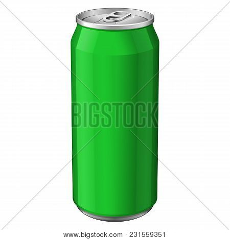 Green Metal Aluminum Beverage Drink Can 330ml. Ready For Your Design. Product Packing Vector Eps10