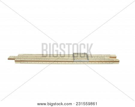 Old Logarithmic Ruler For Arithmetic Calculations Isolated On A White Background. Made In Ussr.