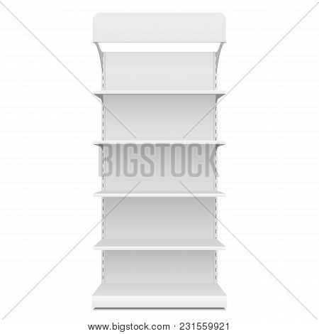 White Blank Empty Showcase Displays With Retail Shelves Front View 3d Products On White Background I