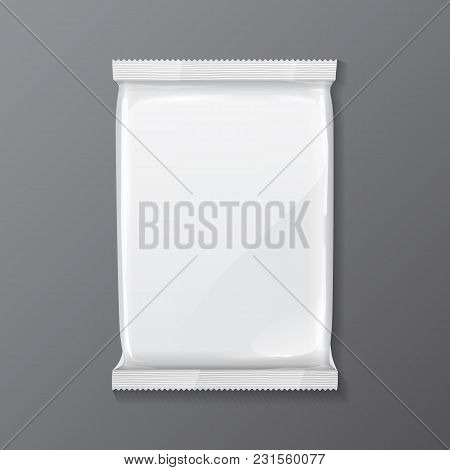 White Blank Foil Bag Packaging Coffee, Salt, Sugar, Pepper, Spices, Sachet, Sweets, Chocolate Or Can
