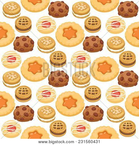 Cookie Cakes Top View Sweet Homemade Breakfast Bake Food Biscuit Pastry Vector Illustration. Baked D