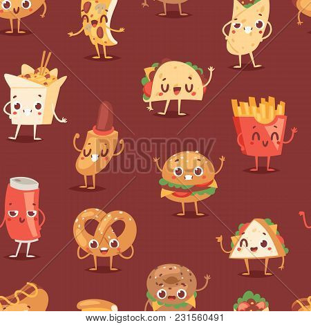 Fast Food Smile Vector Cartoon Expression Characters Of Hamburger Or Cheeseburger With Fast-food Emo